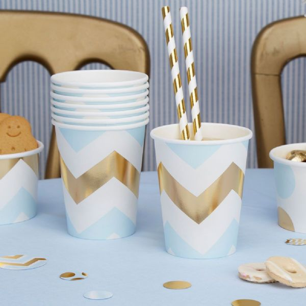 Pattern Works Blue Chevron Cups (8)